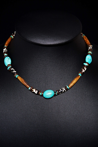 Wood and Turqouise Necklace